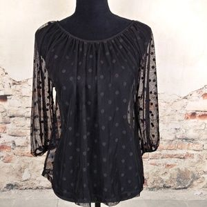 Ann Taylor LOFT XS Black Sheer Mesh Polka Dot Top